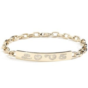 Garland Collection Yellow gold and Diamond LOVE ID bracelet hi res cropped